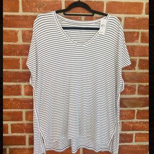 LOFT striped flowy scoop neck short sleeve blouse